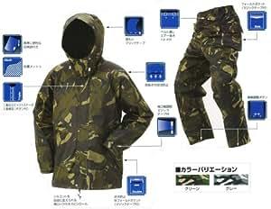 ワイルド 迷彩柄レインスーツ カモフラ柄 カッパ レインコート (迷彩グリーン, 3L)