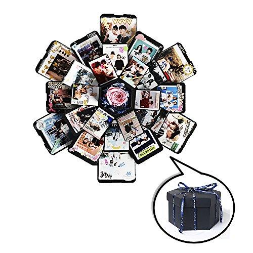 サプライズボックス ギフトボックス 写真 誕生日記念日贈り物DIYアルバム クリエイティブ スクラップブック ロマンチック カード ギ フト ハンドメイド 爆発ボックス ギフトボックス 手作り ラブメモリフォトアルバム (ブラック)