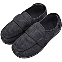 MEJORMEN Mens Diabetic Slippers Edema Shoes with Adjustable Closures Extra Wide Width House Diabetes Strap Footwear Easy On Off for Swollen Feet Elderly Father Husband Indoor Outdoor