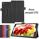 ASUS ZenPad 7.0 Z370C Z370KL ケース [ エイスース 7インチ タブレット SIMフリー 対応 カバー ] フラップマグネット開閉式 / 薄型軽量 / スタンド / タッチペン収納 PUレザー Simple Cover Case【High quality Black (黒)】