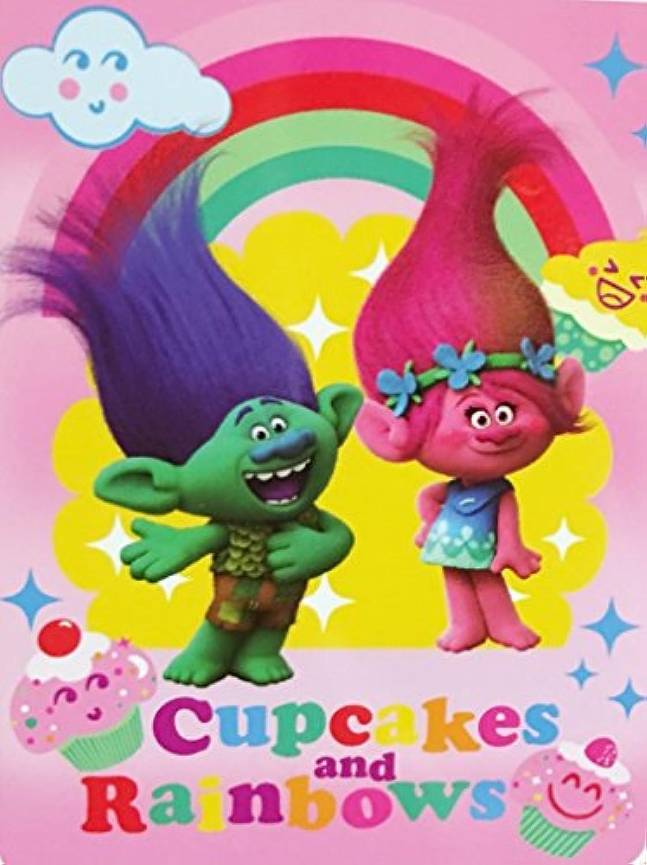 [ドリームワークス]DreamWorks Trolls Plush Throw Blanket ~ 46 x 60 ~ Cupcakes & Rainbows [並行輸入品]