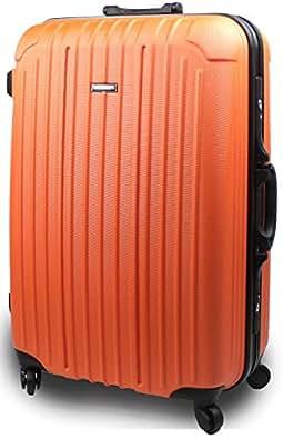 【SUCCESS】 スーツケース ブラックフレーム 【TSAロック バベル2015 ~ 大型・J型・中型】 【軽量フレームスーツケース】キャリーケース バッグ トランク キャリーバッグ (中型67㎝, オレンジ)