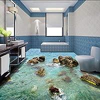 カスタム任意サイズ壁画壁紙石海岸現代の3Dリビングルームバスルームの床デザインPvc防水滑り止めビニール壁紙-160X120Cm