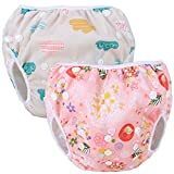 Teamoy 水遊びパンツ 2点セット 0-3歳 赤ちゃん用 ボタンでサイズ調整可能 防水外層 ポリエステルメッシュ内層 オムツカバー スイミング教室・公園・海水浴・プール(雲+花と鳥)