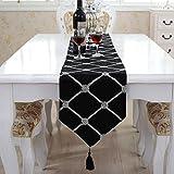 テーブルランナー 北欧 モダン グリッド ブラック