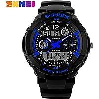 S-Shock Watch Sport Quartz Wrist Kid's Analog Digital Waterproof Military YY IJI Blue