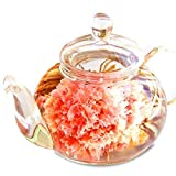 誕生日 プレゼント 女性 カーネーション茶 工芸茶 10種 & ガラスティーポット 優雅セ……