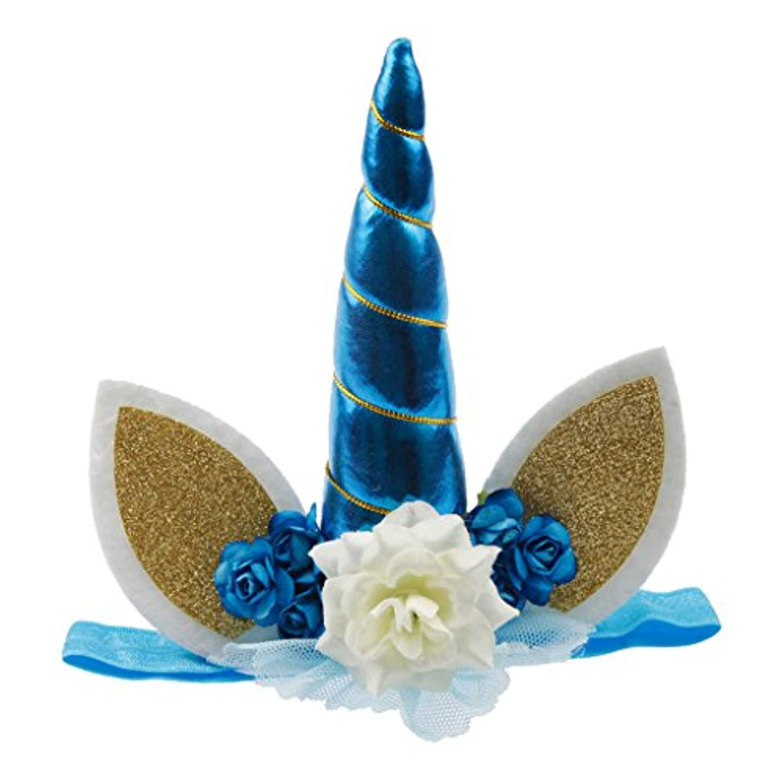 Lovoski ユニコーンホーンの耳デザイン ヘッドバンド 新生児 ベビーガール パーティー ヘアクリップ パーティー ヘッド飾り 写真の小道具 全7色 - 青