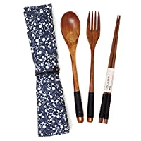 Honbay 3ピース 和風 エコフレンドリー 木製 食器 セット レトロ 布ポーチ 旅行、ピクニック、キャンプ、日常使いに最適 スプーン、フォーク、箸