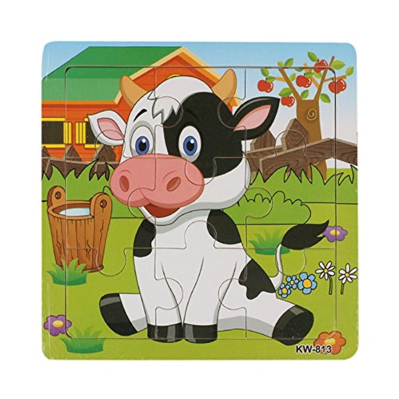 ベビートイMAKALON乳牛Wooden Jigsaw Toys For Kids教育と学習パズルおもちゃ