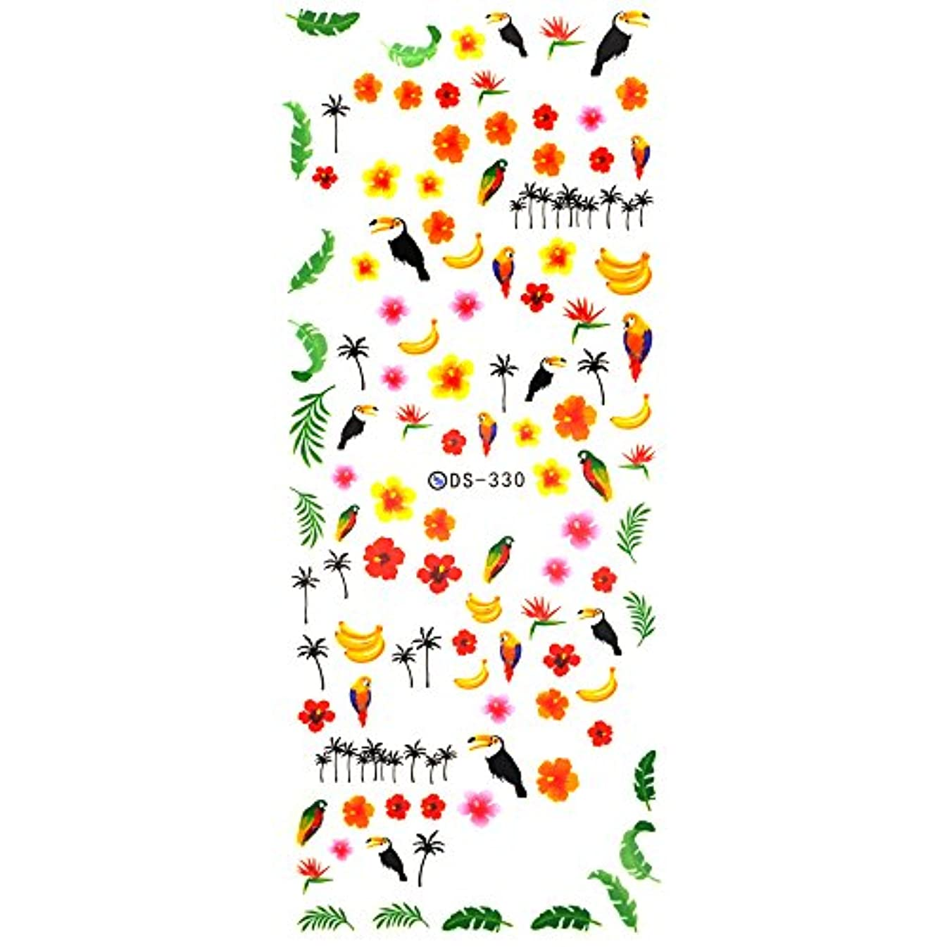 野生自信があるテーマサマートロピカルネイルシール【DS-330】ウォーターネイルシール 南国風 トロピカル ハイビスカス ヤシの木
