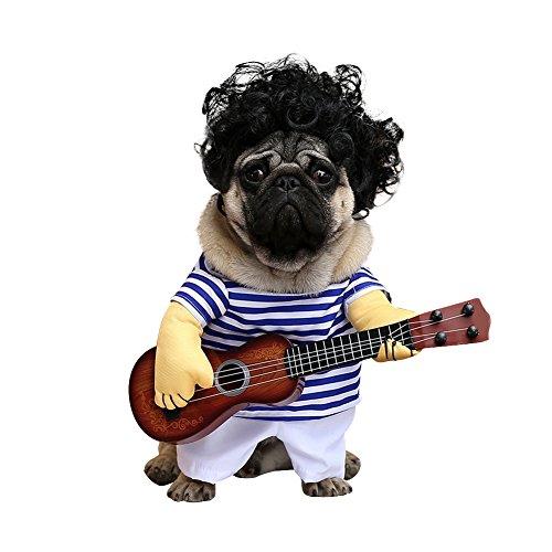 MyMei ペット服 ワンチャン コスプレ ギター ハロウィン 面白い かわいい かっこいい コスチューム 犬服 ソフト 小型犬 中型犬 変身服 出掛け 散歩 (XL)