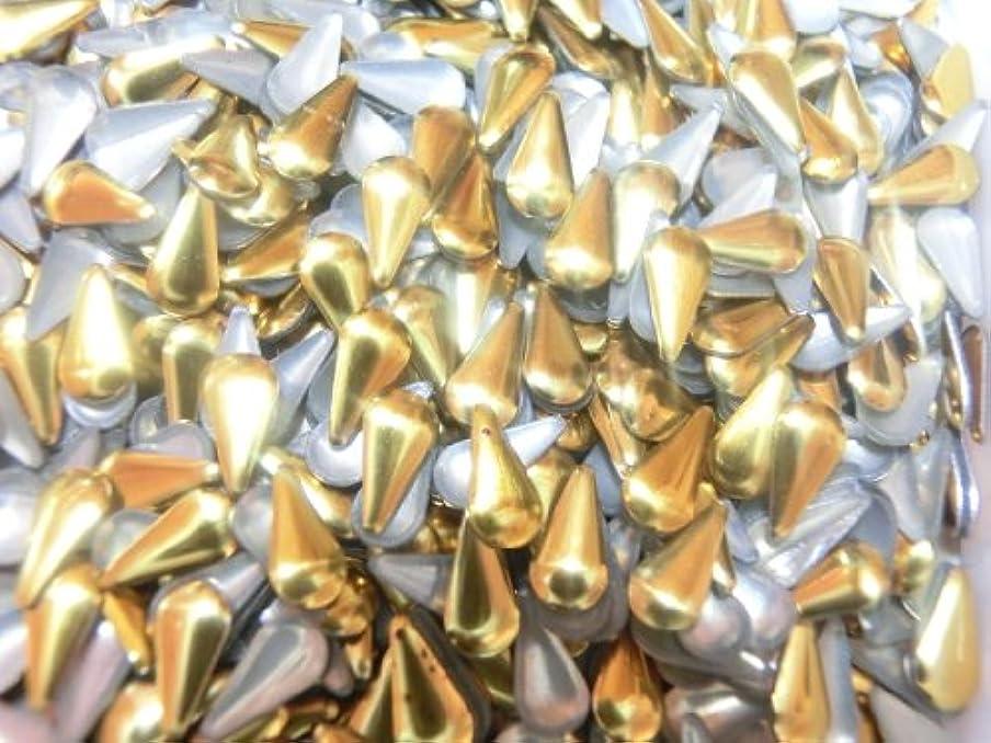 半導体くびれたホット【ラインストーン77】 多種類 スタッズ 各色.各サイズ.選択可能 (涙型(しずく) 3mm×6mm, ゴールド)