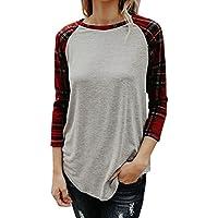 MRELT Women Top Plaid Pattern 3/4 Sleeve Tee Shirt Blouse