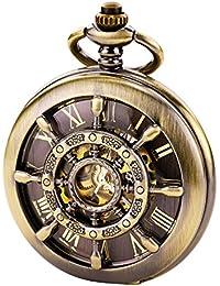 TREEWETO ブロンズ ダブルカバー ローマ数字 文字盤 スケルトン メンズ レディース 懐中時計