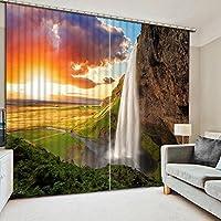 Sproud 3 次元のプリントカーテンは、生き生きとした風景の男と獣 3 D ラグジュアリー窓カーテンベッドルームリビングルームのカーテン 240 Dropx 380 幅( cm ) 2 枚