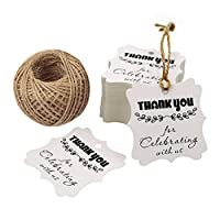 (Thank You for Celebrating with Us) - Thank You for Celebrating with Us,100PCS Kraft Paper Tag Gifts Papers Wedding Favour Gift Tags with 30m Jute Twine