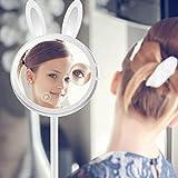 メイクアップミラー 化粧鏡 LEDライト ウサギ型折りたたみバニティミラー 充電式 テーブルランプとナイトライト3 in 1 タッチスクリーンの調光 化粧 読書 旅行 磁気 取り外し可能 7X倍率 スポットミラー Dreld