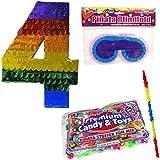数4つPinataキットIncluding Pinata , 2lb Filler、Buster Stick and Blindfold