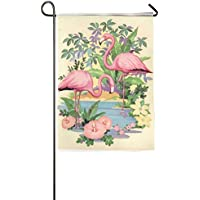 DFGTLY Fashion Personalized Garden Flag,Flamingos Seaside Garden Flag-12