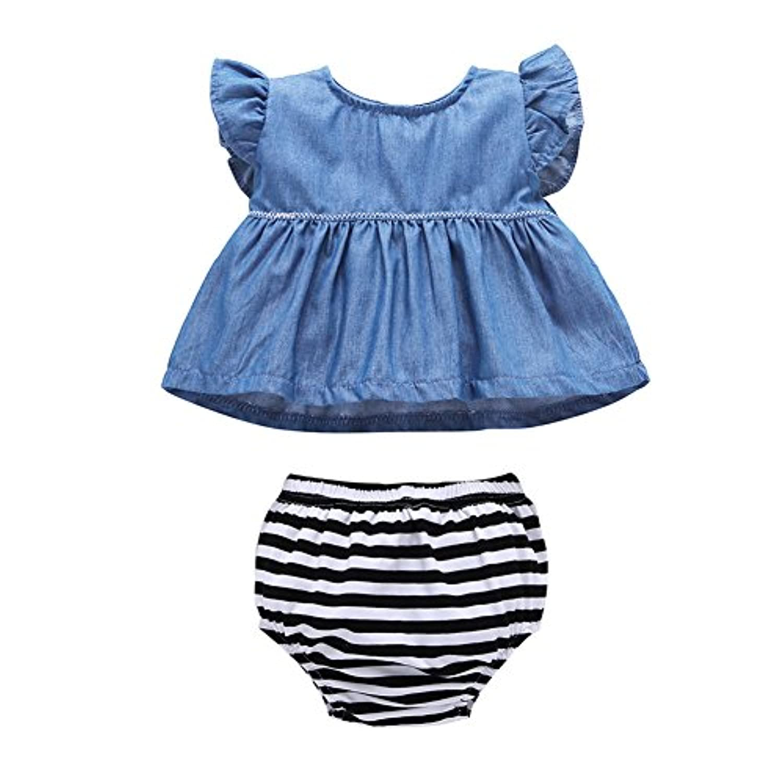 Mornyray ベビー服 デニムワンピース ノースリーブ 袖なしドレス 女の子 赤ちゃん ショートパンツ 2点セット コットン 0-3歳 size 80 (ライトブルー)