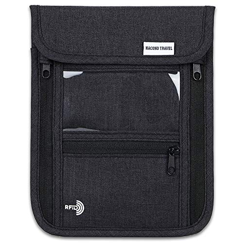 HACONO TRAVEL 高品質スキミング素材使用 パスポートケース 首下げ スキミング防止 6ポケット 防水 軽量 210Dナイロン素材 首ひも調節可能 KR001TP