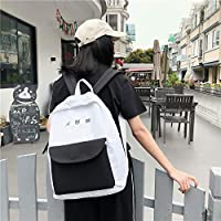 ZHANGYOUDE Color Matching Casual Double Shoulders Bag Casual Backpack Couple Shool Bag (Black) (Color : Black)