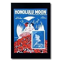 ハワイアンポスター フラガールシリーズ F-131 「HONOLULU MOON」 サイズ:28.5×21.5cm