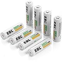 EBL 充電式ニッケル水素電池 単3形8個 ケース2個付き 高容量2800mAh 約1200回使用可能 単三充電池