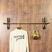 LXSnail 衣料品店のディスプレイラック、LOFTレトロ工業風水パイプハンガー、リビングルーム鍛造壁掛け衣類ラック コートラック (サイズ さいず : 90cm)