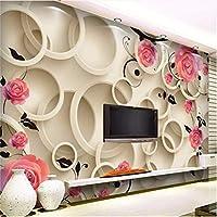 Weaeo 3D写真の壁紙3Dローズ・サークルファンタジー・フローラル・リビングルームのベッドルームの背景3D大きな壁紙現代絵画-400X280Cm