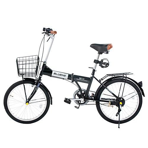 (SHINE WOOD)20インチシマ 折りたたみ自転車 カゴ付き 前後フェンダー (ブラック)