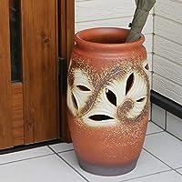 信楽焼 唐草彫り火色傘立て しがらき焼 笠立て 陶器 おしゃれ kt-0325