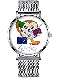 ミニマリストファッションクォーツ腕時計エリート超薄型防水スポーツ時計メッシュバンドと日付 215.So Many Books So Little Time