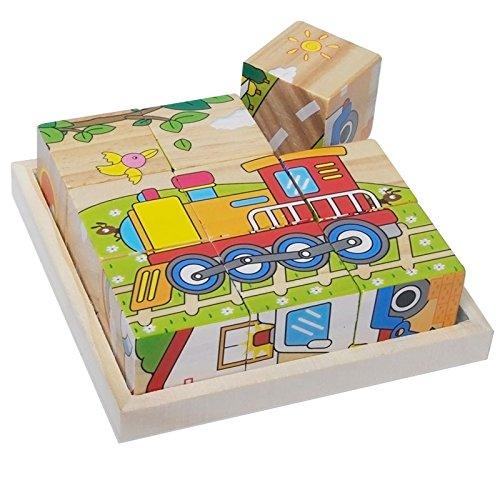 [해외]ITITENREI 나무 퍼즐 큐브 퍼즐 어린이 퍼즐 3D 입체 6면 교육 완구 장난감 3 세 ~ 6 세/ITITENREI Wooden Puzzle Cube Puzzle Children`s Puzzle 3D Cosmetic 6-Sided Educational Toy Toys 3 to 6 years old