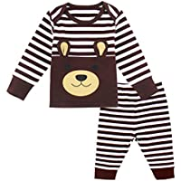Mombebe Baby Boys' 2 Pieces Bear Stripe Clothes Set