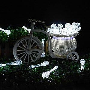 Linsam イルミネーションLEDライト ソーラーパネル 太陽妖精雨滴ストリングライト  電源不要 防水 全長4.85m LED20灯 屋外 フラワー ホワイト