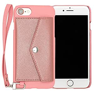 RAKUNI Light PU Leather Case Pocket Type with Strap for iPhone 7 (ピンク) PUレザー カードケース カバー ストラップホール付き RCP-7-PK