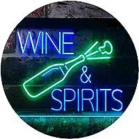 Wine and Spirits Room Dual Color LED看板 ネオンプレート サイン 標識 緑色 + 青色 600 x 400mm st6s64-i3351-gb
