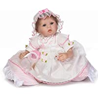 NPK新しいRealistic Lovely Rebornベビー人形シリコンSo Trulyガールプリンセス新生児赤ちゃん人形Cheap Alive Menina Bebe 17インチ43 cm Reborn幼児用枕とレースドレス