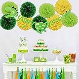 誕生日パーティーの装飾 恐竜テーマ レター 誕生日のプルフラグ 紙花とガーランド ペーパーフラワー 夏の飾り 青