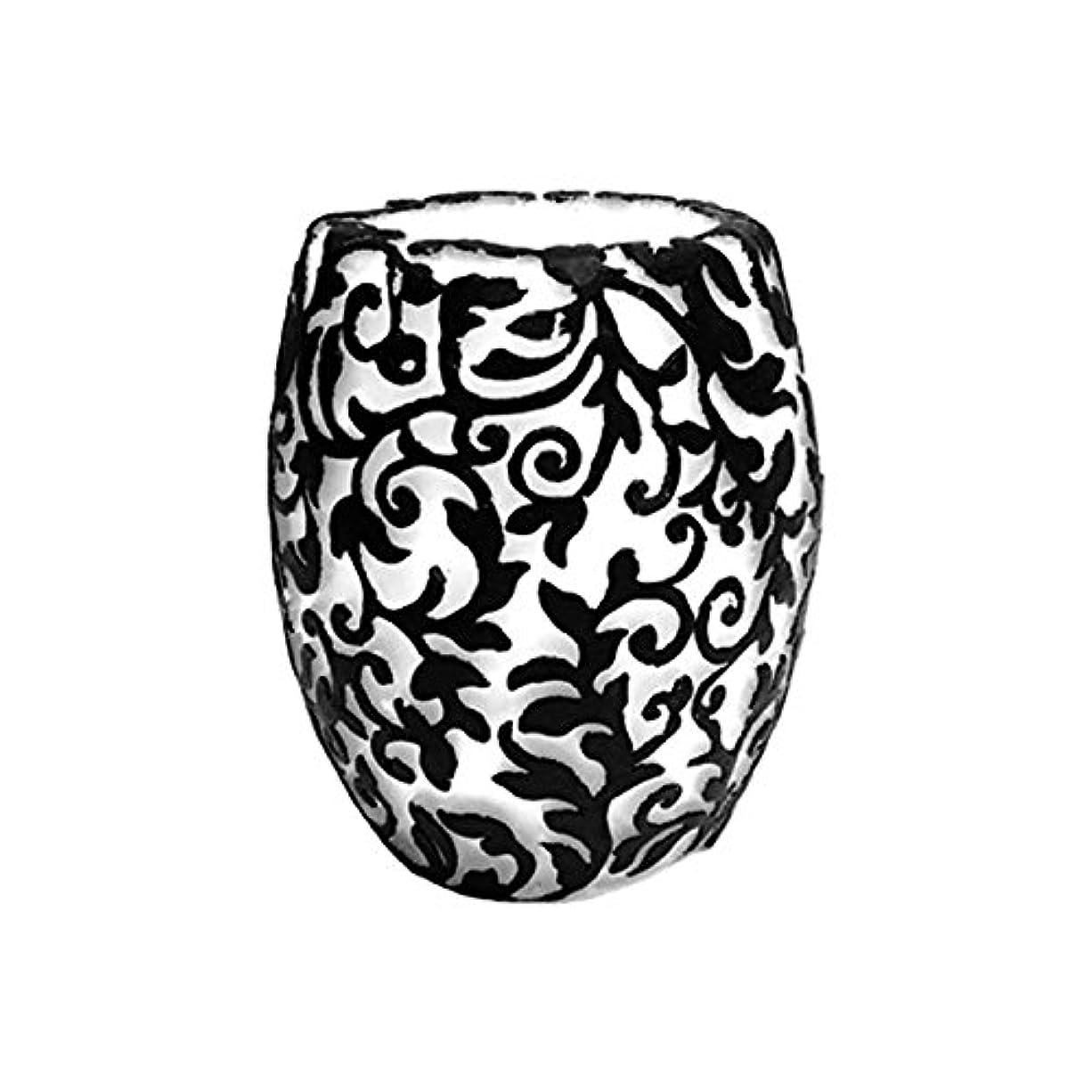 印象説明的不器用スワールリーフ Vase (Ivory×Black/サンダルウッド(白檀))