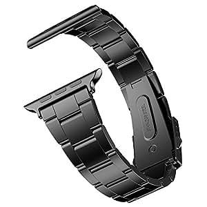 JEDirect Apple Watch 用バンド 42mm と 44mm Series 1 2 3 4対応 ステンレス留め金製 ブラック