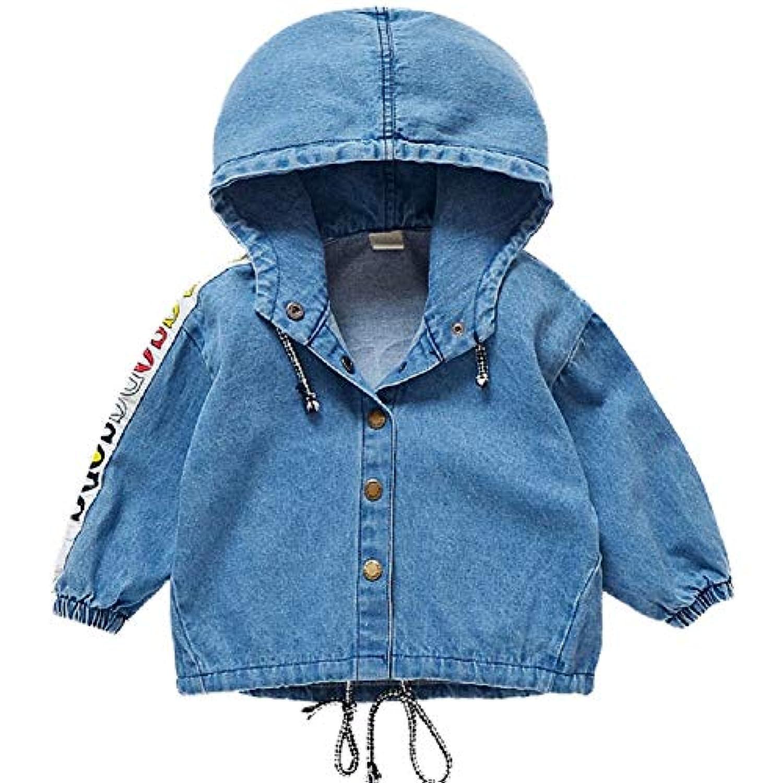 KABINN 子供 女の子 かわいい デニムジャケット デニムコート アウター コート 帽子つき 秋冬 長袖 韓流風 防風 防寒 ゆとりがあるコート(80CM/90CM/100CM/110CM/120CM/130CM)