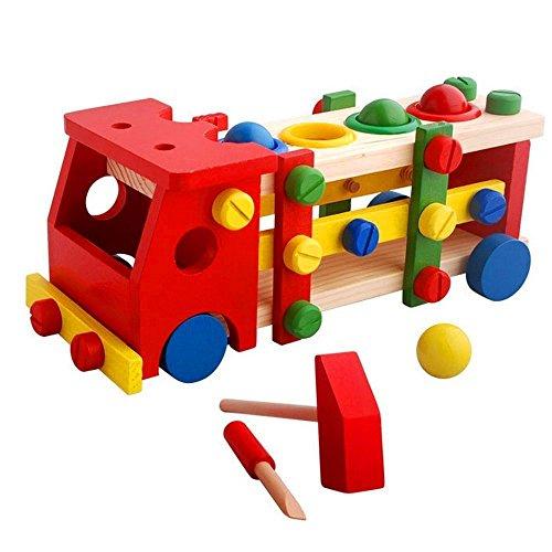 (アルジーユ)ALZEU 木のおもちゃ カラフル 木製 組み立て 積み木 トラック 組み立 木製玩具 車 子供 幼児 教育 知育玩具 (赤色 トラック型)