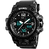 Men's Sports Analog Digital Dual Time LED Watch Military Multifunctional Waterproof Wristwatch with Alarm Stopwatch Black