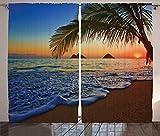 """デジタル印刷カーテン寝室リビングKids Youth部屋2つのパネルカーテンセット 108"""" W By 84"""" L p_12298_Hawaii_108x84_fba"""