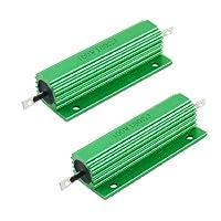 uxcell メタルクラッド抵抗 アルミ収容抵抗器 巻線型 グリーン 100W 180 Ohm  2個入り