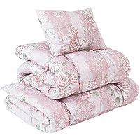 【柔らかボリューム寝具布団3点セット (シングルサイズ) 桃のような上質な肌触り】 届いてすぐ使える布団 (掛け・敷き・枕) ほこりも出にくい 軽くて快適 (ピンク色)