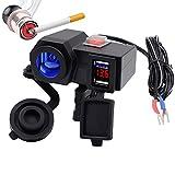 TurnRaise バイク用 usbチャージャー オートバイシガーソケット 車用USB充電器 2ポット付き スマートフォン電源プラグ 4.2A輸出電流 シガレットライター 電圧計搭載